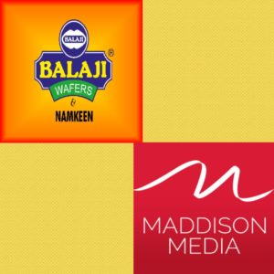 Balaji Wafers awards the media duties to Madison Media. Marketing and Advertising deals in India.Corporate branding deals