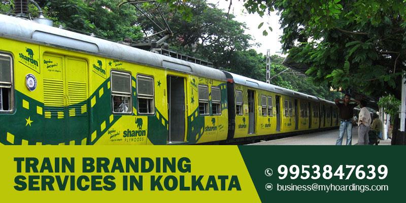 Train Branding in Kolkata. Train wrap advertisement on trains plying in Kolkata,West Bengal. MyHoardings expertise in transit media.