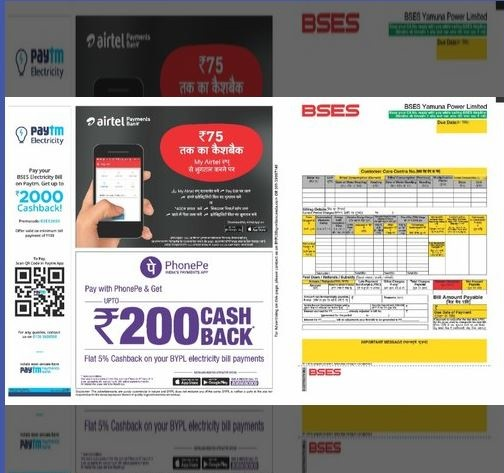 Electricity Bill Advertising,Branding on Electricity Bills in Mumbai,Delhi and Chennai
