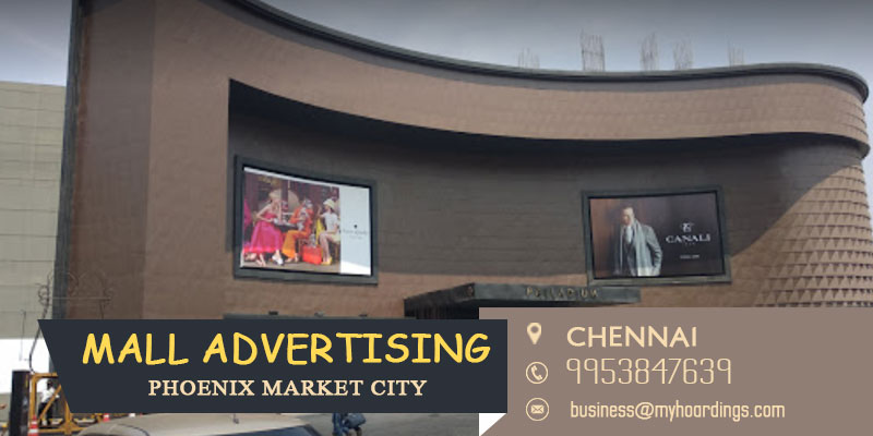 Mall Advertising in Chennai. Kiosk setup, LED display, Shop branding and Signages inside shopping malls of Chennai.