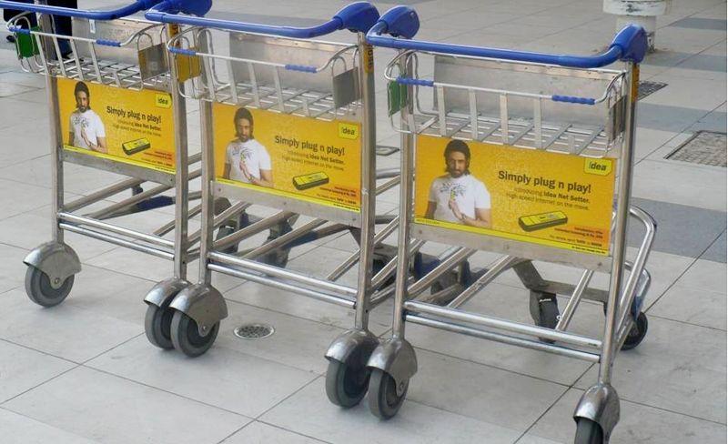 Airport Trolley Advertising, Airport ad agency in Mumbai, Baggage trolley branding, Airport DOOH advertising, Airline branding in Mumbai